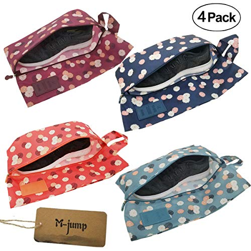 M-jump 4 Pack Shoe Bags,Portable Oxford Travel Shoe Bags with Zipper Closure (4 -