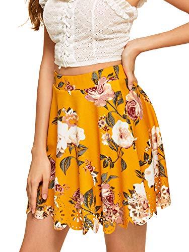 SHEIN Women's Basic Solid Flared Mini Skater Skirt X-Small Floral Ginger ()
