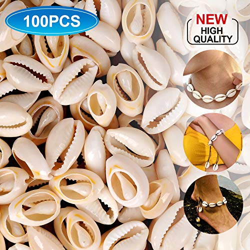 100Pcs White Natural Spiral Beads Sea Shells Ocean Summer Cowrie Sea Shells Cowrie Shells Charms and Beads for DIY Craft Jewelry Making Accessories