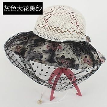 5c4e84fd17 GAOQIANGFENG Womens UPF 50 + Hat Frau Sommer Hut entlang der Sonnenhut UV-Sonnenschutz  Schleier