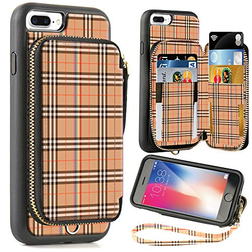 ZVE Wallet Case for Apple iPhone 8 Plus and iPhone 7 Plus, 5.5 inch, Zipper Wallet Case with Credit Card Holder Slot Handbag Purse Case for Apple iPhone 8/7 Plus 5.7 inch - Yellow Plaid ()