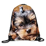 Gym Drawstring Backpack-Cute Puppy Shopping Travel Backpack Tote Student Camping