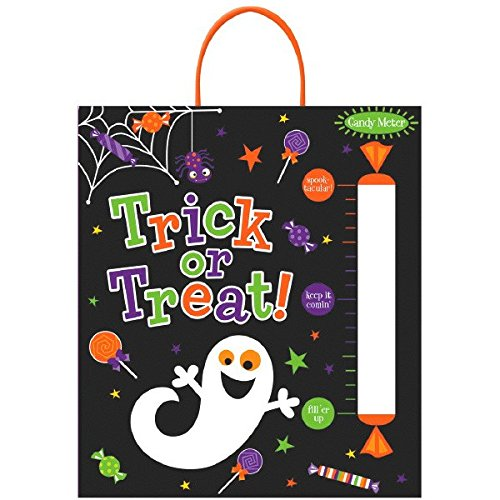 Amscan Family Friendly Halloween Candy Meter Loot Bag Party Favour, Black, 16