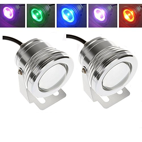 Powstro 2PCS RGB LED Underwater Fountain Light Lamp IP65 10W Spotlight Pool Pond Fish Tank Aquarium LED Light Lamp DC 12V by Powstro