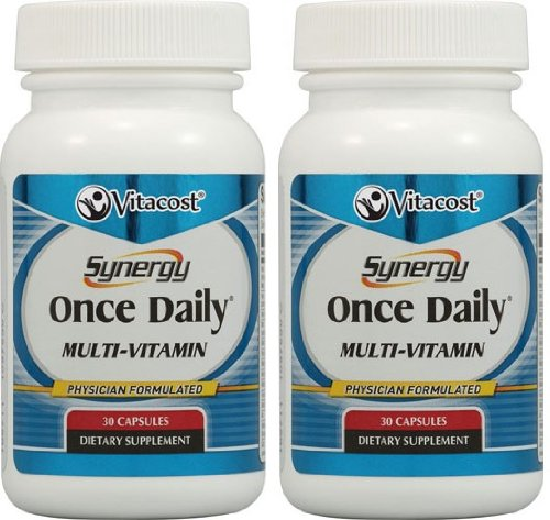 Vitacost Synergy Once Daily Multi-Vitamin — 2 bottles each of 30 Capsules — 60 Total