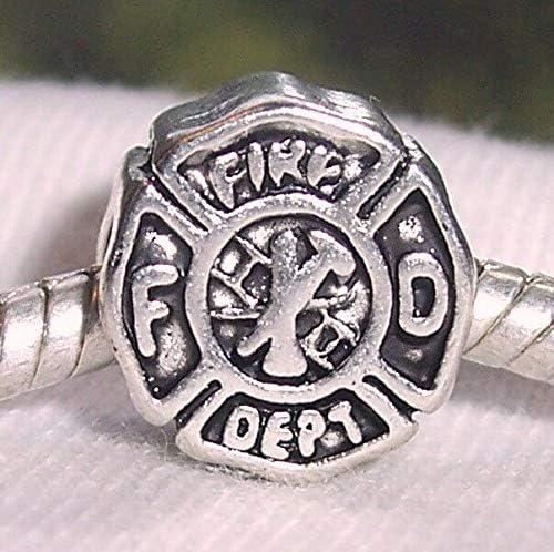 Fire Department Firefighter Badge FD Rescue Charm fits European Bead Bracelets Fashion Jewelry for Women Man
