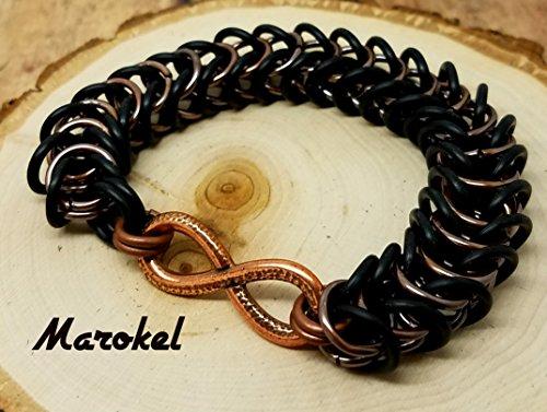 Chain Industrial Link Bracelet - Infinity Chain Maille Bracelet Unisex Box Chain rubber Links Stretch Black Copper