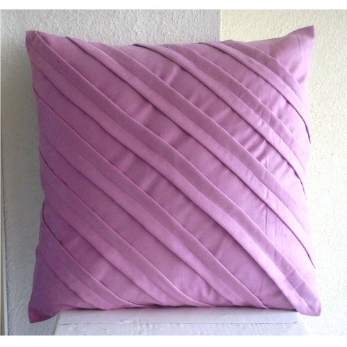 Designer Lavender Pink Pillows Cover, Textured Pintucks Soli
