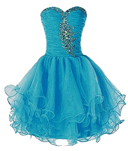 Prom Gown Bess Short Organza Women's Bridal Peacock Beaded Ball Homecoming Dress ttf0w