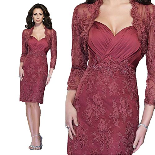 Angel Formal Dresses Women's 3/4 Sleeves Sheath Knee Length Lace Mother Of The Bride Evening Prom Dress(2)