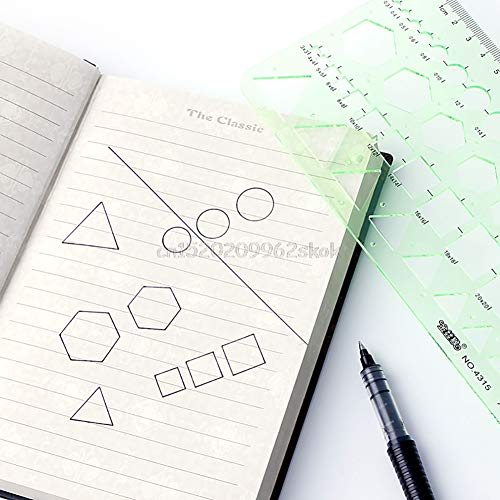 Qincling 11 Pieces Geometric Drawings Templates Stencils Plastic Measuring Template Rulers Clear Green Shape Template for Drawing Engineering Drafting Building School Office Supplies by Qincling (Image #6)