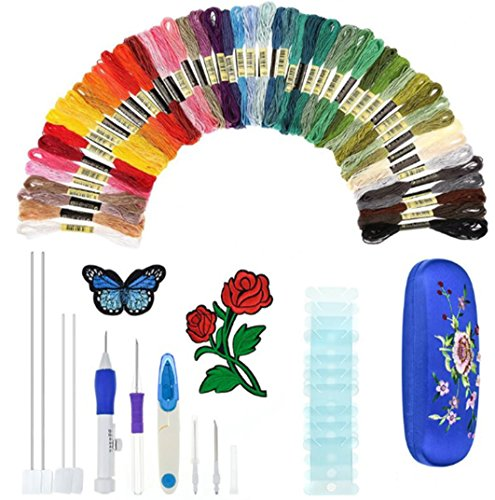 Zongsi Magic Embroidery Pen, Embroidery Stitching Punch Needles Craft Tool Set Including 50 Color Threads for DIY Threaders Sewing