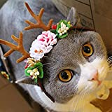Bwogue Pet Antlers Headband Holiday Christmas Halloween Costume for Dogs Cats Hair Accessories