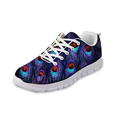 Abbracci Idea Pittura Design Donna Moda Casual Sneakers Leggere Scarpe Da Corsa Peacock6