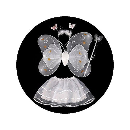 Topbeu Fairy Princess Birthday Party Stage Butterfly Angel Wing Tutu Skirt Costume Set Dress up Accessories for Little Girls (Baby And Kids Butterfly Costume)