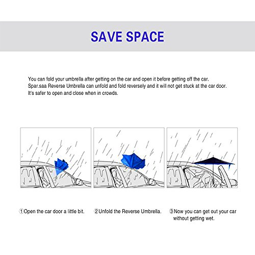 Spar. Saa Double Layer Inverted Umbrella with C-Shaped Handle, Anti-UV Waterproof Windproof Straight Umbrella for Car Rain Outdoor Use (Pink Flamingos) by Spar.saa (Image #8)