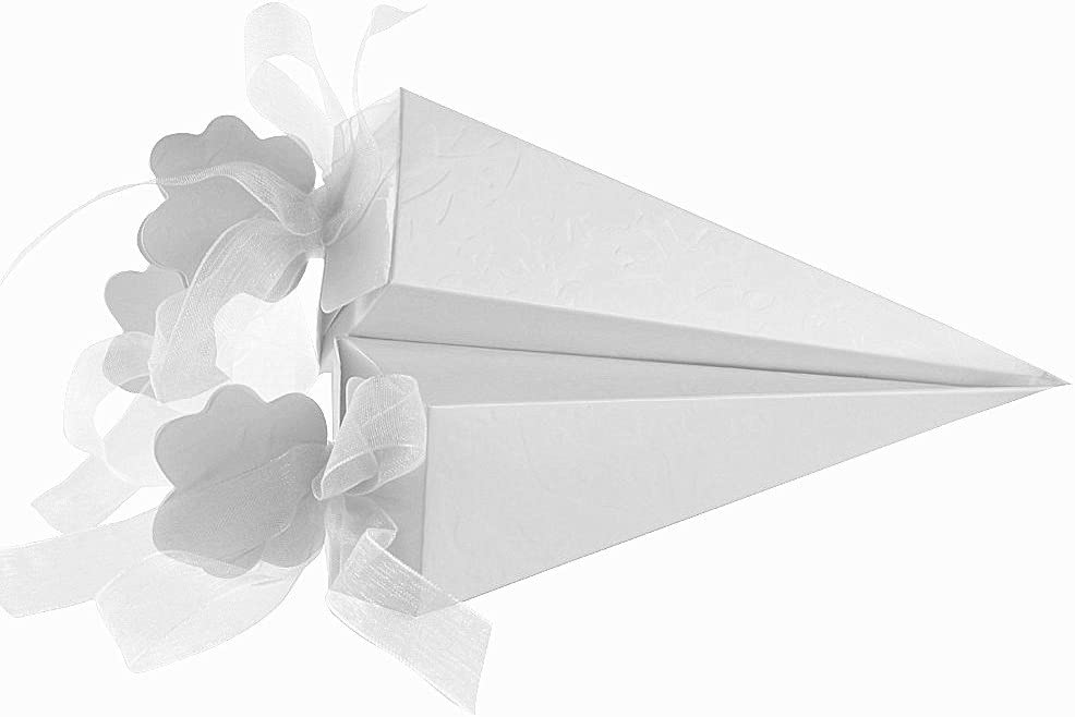 100 pcs Cajas Conos de Bombones para Guardar Arroz, Caramelos, Galletas Pequeñas Regalo, Detalle, Recuerdo, Decoración, Favor para Invitados de Boda (4x4x15,5 cm) (Blanco)