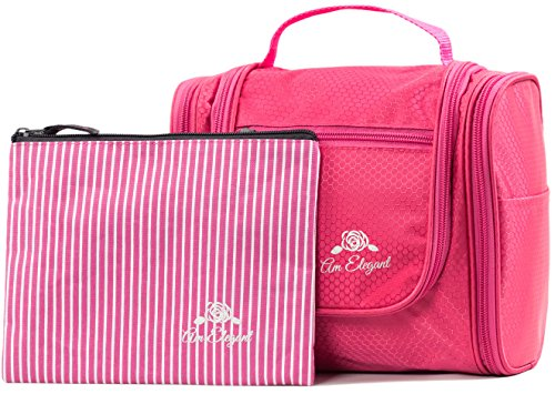 Premium Cosmetic Bag By AmElegant - Spacious Women And Men Toiletry Bag - Makeup Organizer And Beauty Product Organizer (Pink)