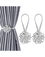 Shinowa 2-Pack Magnetic Curtain Tiebacks, Crystal Window Curtain Decorative Clips, No Drilling Drapery Holdbacks Flower Curtain Holder for Home Office Room Decor, 5 Petals, Silver