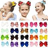 DEEKA 20 PCS Multi-colored 3' Hand-made Grosgrain Ribbon Hair Bow Alligator Clips Hair Accessories for Little Girls