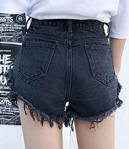 Ripped Shorts Cowboy Taille Xinwcanga Pantalons Glands Hotpants Irrgulire Jeans Chaude Denim Haute Noir Femme wIWgga4