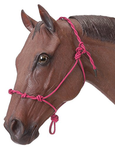 Pink Rope Halter - Tough 1 Tough-1 Knotted Rope & Twisted Crown Training Halter, Pink