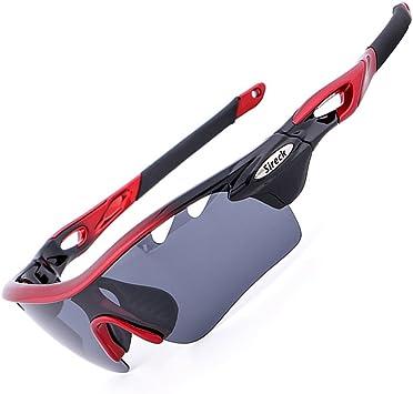 Sireck Sports - Gafas de sol polarizadas fotocromáticas para ciclismo, pesca, senderismo, UV400, Rojo y negro: Amazon.es: Deportes y aire libre