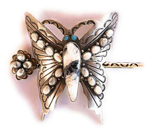 Butterfly Native American Navajo Sterling White Buffalo Barrette Signed from Nizhoni Traders LLC
