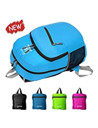 DayPack, ParaWolf Travel Backpack - LIGHT - FOLDABLE - PACKABLE - DAYPACK with Waterproof Fabric and Zipper Pockets (With the Best Bonus of a Matching Foldable Water Bottle)