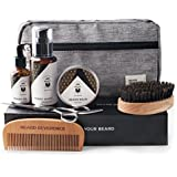 Premium Beard Grooming Kit with Upgraded Travel Bag - All Natural Beard Oil, Balm Conditioner, Wash, Scissors, Comb, Boar Bristle Brush for Trimming Shaping Care and Growth – Gift Set for Men