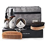 Premium Beard Grooming Kit with Upgraded Travel Bag - All Natural Beard Oil, Balm Conditioner, Wash, Scissors, Comb, Boar Bristle Brush for Trimming Shaping Care and Growth – Valentines Gift for Men