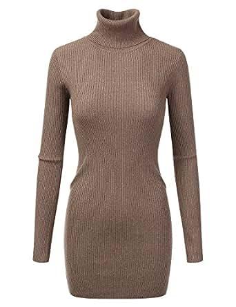 Doublju Stretchy Turtleneck Ribbed Knit Sweater Dress Top MOCHA SMALL