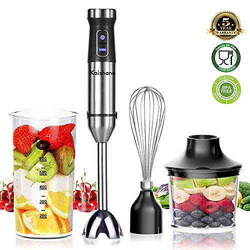 KAISHANE Hand Blender Set Electric - 1000W Turbo Immersion Blender - 4 in 1 Low Noise Blender with Masher, Whisk and Breaker for Soup and Baby Food - SUS301 Blade 304 Stainless Steel