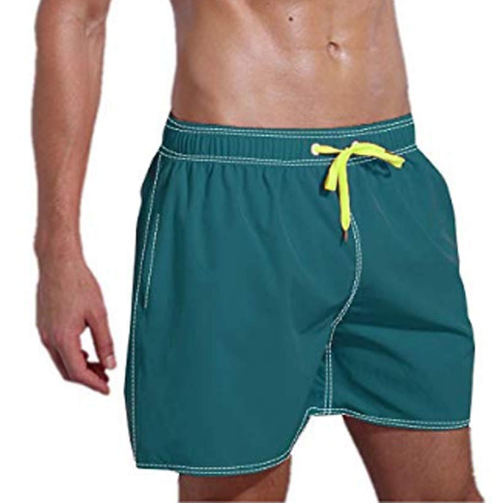 Yomiafy Mens Quick-Drying Swim Trunks Solid Color Surfing Sport Casual Beach Shorts