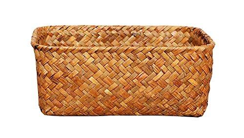Seagrass Basket Weaved Rectangular Storage Organizer Spring