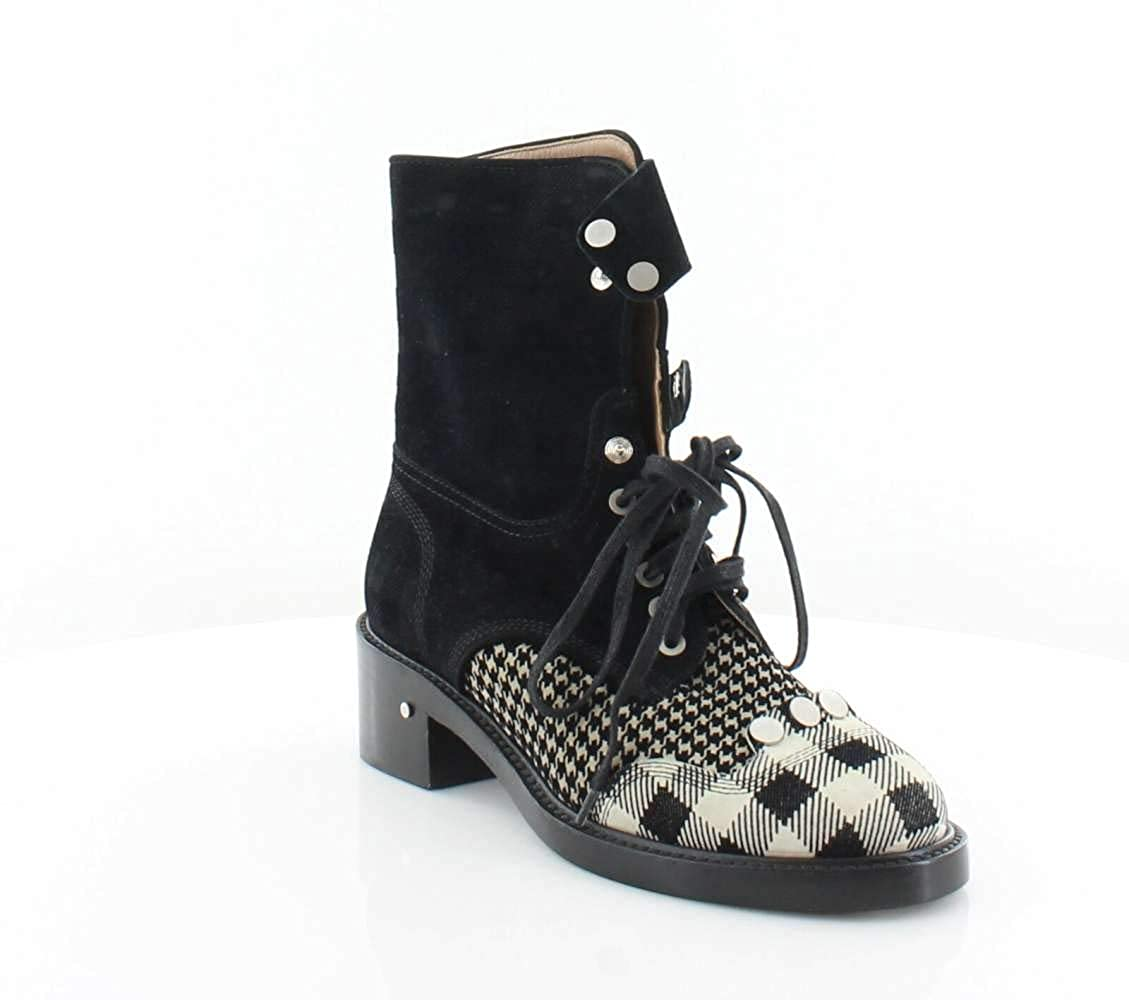 Black Multi Laurence Dacade Womens Leather Round Toe Mid-Calf Fashion Boots