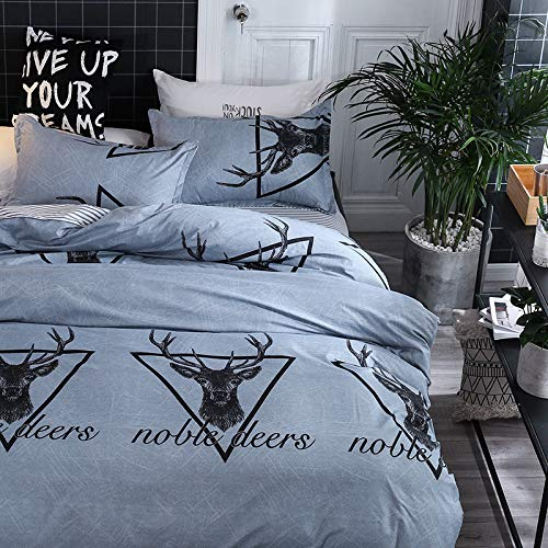 OWMEOT Navy Blue Deer Duvet Cover Set Quilt Cover Bedding for Teens Adult Simple Modern Stripes Pattern Printed Gray Blue with Hidden Zipper Closure
