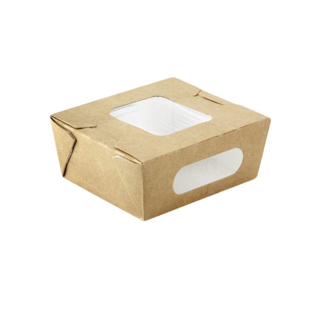 PacknWood Kraft Paper Take-Out Salad Box with 2 Windows, 24 oz. Capacity (Case of 100)