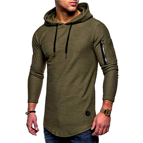 HGWXX7 Men's Fashion Solid O Neck Long Sleeve Muscle Tee T-Shirt Tops Blouse (XXL, W-Army Green)