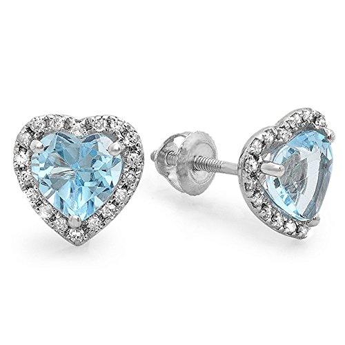10K-White-Gold-Heart-Shape-Ladies-Halo-Stud-Earrings