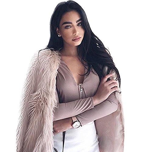 Brezeh Women Faux Fur Coat Ladies Winter Warm Fox Fur Jacket Parka Outerwear Sexy Pink