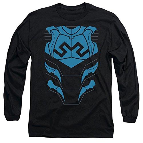 Blue Lantern Flash Costume (Justice League Of America DC Blue Beetle Armor Costume Adult L-Sleeve T-Shirt)