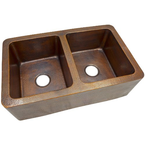 The Copper Factory CF166AN Solid Hand Hammered Copper 34-Inch by 21-Inch Large Double Bowl Farmhouse Sink, Antique Copper
