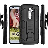 LG G2 Case, NageBee [Heavy Duty] Armor Shock Proof Dual Layer [Swivel Belt Clip] Holster with [Kickstand] Combo Rugged Case for LG G2 (Black)