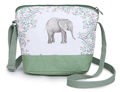 Crest Design Cute Canvas Crossbody Bag Shoulder Bag Purse for Girl and teenage (Green Elephant)