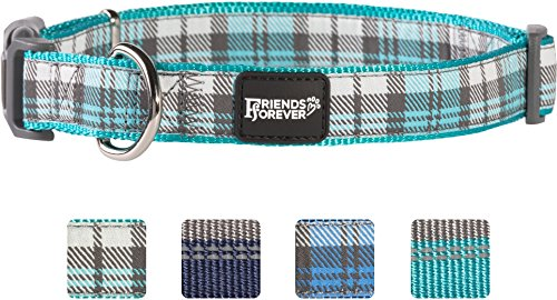 Friends Forever Plaid Dog Collar for Dogs, Fashion Woven Checkers Pattern, Cute Puppy Collar, Green Medium 14-20