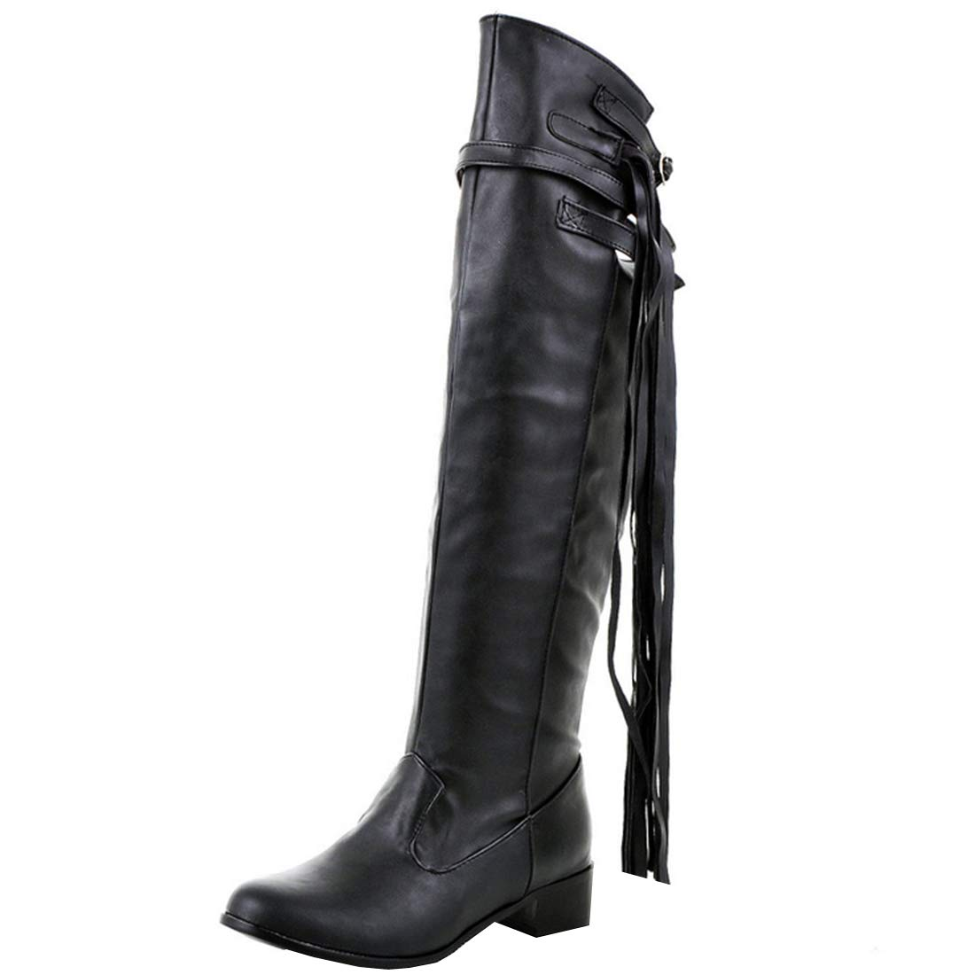 db03f3bb2427b Amazon.com: Artfaerie Womens Flat Over The Knee Boots Fringe Western ...