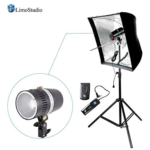 "LimoStudio Digital Strobe Flash Light & Umbrella Reflector Holder with 4-Channel Radio Remote Trigger & Receiver Set, 28"" Reflective Sofbox, and Light Stand Tripod for Photo and Video Studio, AGG2748 by LimoStudio"