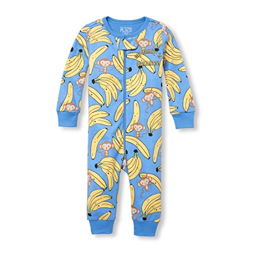 The Children's Place Baby Boys Novelty Printed One Piece Long Sleeve Footed Sleeper, BLUEOXFORD, 4T ()