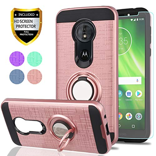Moto G6 Play Case, Moto G6 Forge Phone Cases with HD Phone Screen Protector,YmhxcY 360 Degree Rotating Ring & Bracket Dual Layer Resistant Back Cover for Motorola G Play(6th Generation)-ZH Rose Gold